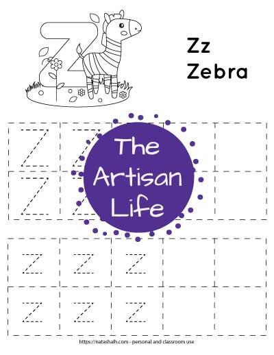 "Letter tracing worksheet with dotted letter z's in boxes to trace. There are two rows of uppercase z and two rows of lowercase z. At the top of the page is a cute zebra with a large bubble letter z to color and the text ""Zz zebra"""