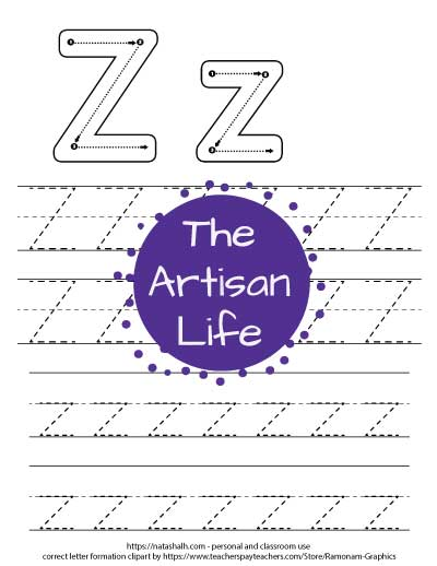 Printable letter z tracing worksheet with four lines of dotted letter z's to trace. At the top of the page there are correct letter formation graphics for uppercase and lowercase letter z's