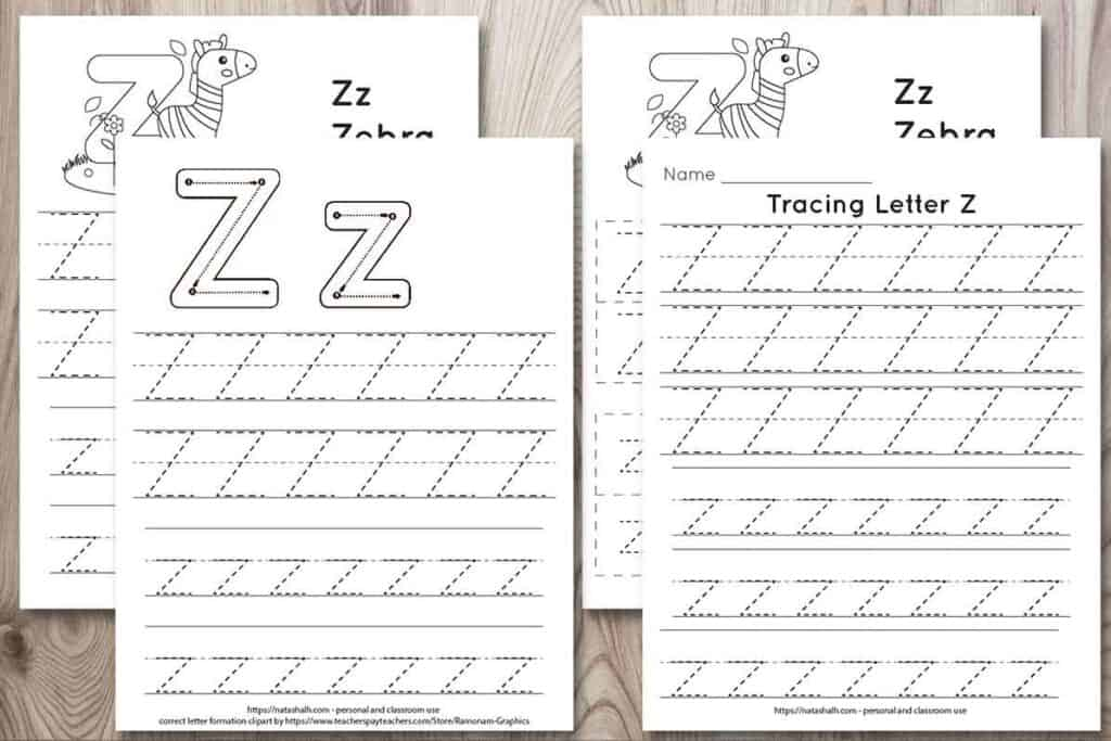 "four free letter z tracing printables on a wood background. Each features uppercase and lowercase letter z's to trace in a dotted font. One has correct letter formation graphics and two have a cute zebra to color and the text ""Zz zebra"""