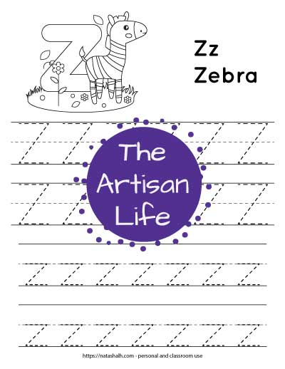 "Letter tracing worksheet with dotted letter z's on lines to trace. There are two lines of uppercase z and two rows of lowercase z. At the top of the page is a cute zebra with a large bubble letter z to color and the text ""Zz zebra"""