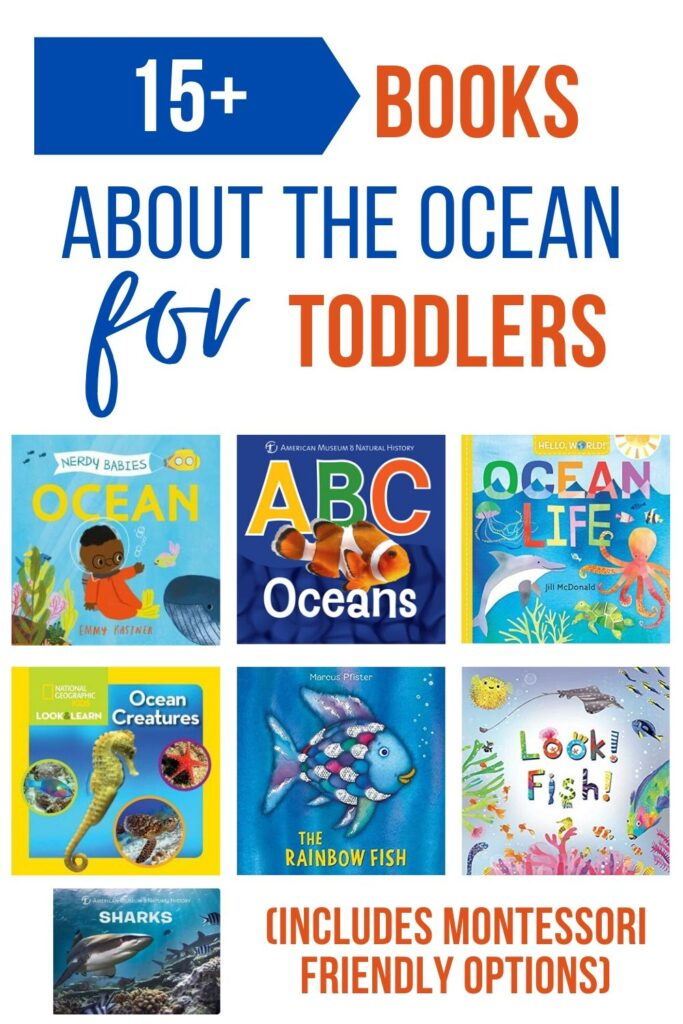 """An image collage of underwater themed board books for toddlers. Text on top reads """"the best ocean books for toddlers (includes Montessori friendly options)"""