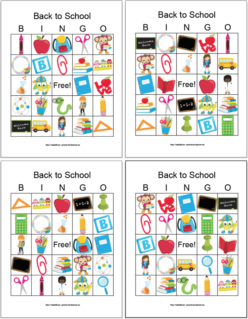 four free printable back to school bingo boards arranged in a grid. The bingo cards feature back to school images like paperclips, chalkboards, and backpacks.