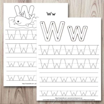 two letter w tracing worksheet free printables on a wood background. Both have two lines each of uppercase and lowercase letter w to trace. One has a whale to color and the other has correct letter formation graphics for w.