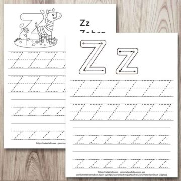 two free printable letter z tracing worksheets on a wood background. One has correct letter formation graphics and the other has a cute zebra to color. Both have two lines apiece of uppercase and lowercase letter z's to trace.