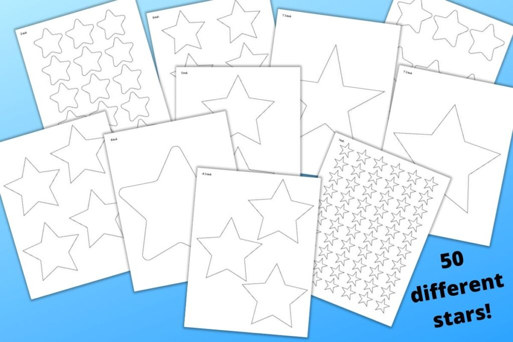 "A preview of 10 printable star templates ranging from 1"" to 8"" wide on a blue background and the text ""50 different stars!"" in the lower right corner"