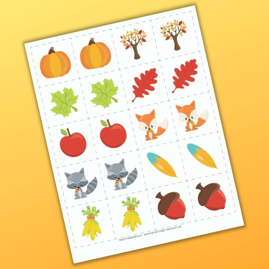 A set of fall themed cute cartoon matching cards for toddlers and preschoolers. There are 10 pairs of cards to cut out with fall themed images like a pumpkin leaves, apples, across, and corn.