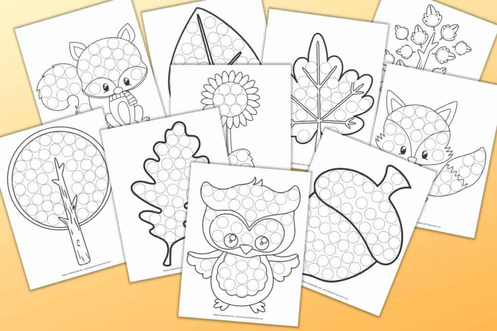 10 printable do a dot worksheets on a pale orange background. The worksheets have fall themed images with large circles to dab with a dabber marker. Images include leaves, an owl, a tree, a fox, and a raccoon.