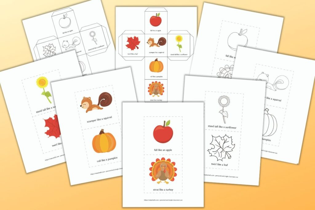 Printable fall themed gross motor movement dice and cards for differentiated instruction cubes. There are color and black and white versions of each. Instructions include: fall like an apple, strut like a turkey, roll like a pumpkin, scamper like a squirrel, stand tall like a sunflower, and twirl like a leaf