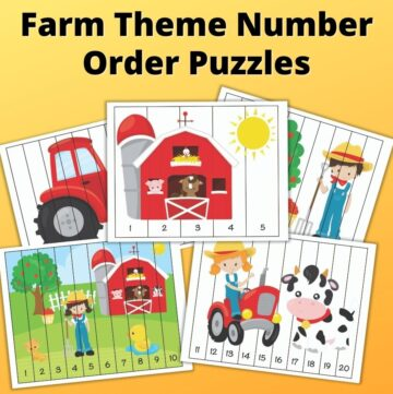 "text ""Farm theme number order puzzles"" with a preview of five printable number sequence puzzles with cute cartoon images. The front picture has a barn with a sun and numbers 1-5. Below it are puzzles with 1-10 and 11-20. In the back are two more puzzles that are partially hidden. They feature a tractor, on the left, and a boy next to an apple tree, on the right."