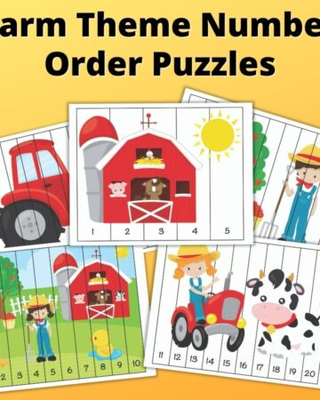 """text """"Farm theme number order puzzles"""" with a preview of five printable number sequence puzzles with cute cartoon images. The front picture has a barn with a sun and numbers 1-5. Below it are puzzles with 1-10 and 11-20. In the back are two more puzzles that are partially hidden. They feature a tractor, on the left, and a boy next to an apple tree, on the right."""