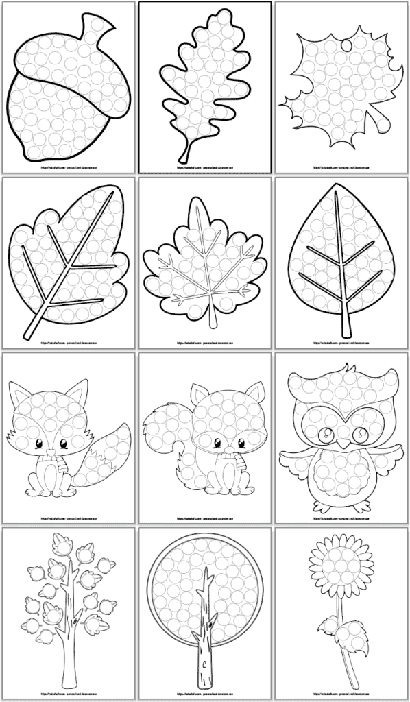 12 do a dot marker printables for toddlers and preschoolers with a fall theme. Images include An acornFive different leaves A cute fox, A raccoonAn owlTwo treesA sunflower
