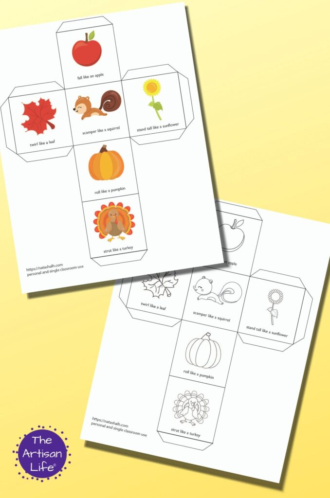 Two printable fall themed gross motor movement dice templates. One version is in color and the other is black and white. The page previews are on a yellow background.