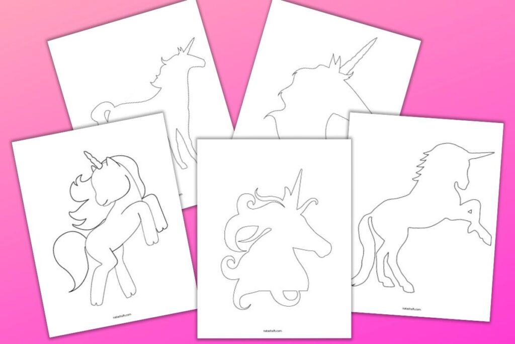 5 free printable unicorn templates on a pink background. Unicorn silhouettes are in black an white and include two unicorn heads and three standing full body unicorns.