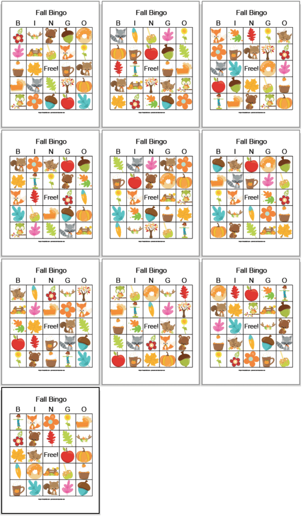 10 free printable fall bingo cards with cartoon fall images like pumpkin pie, leaves, flowers, and woodland animals. The cards are arranged in a grid with 3 cards to each row. The 10th card is on the bottom row alone.