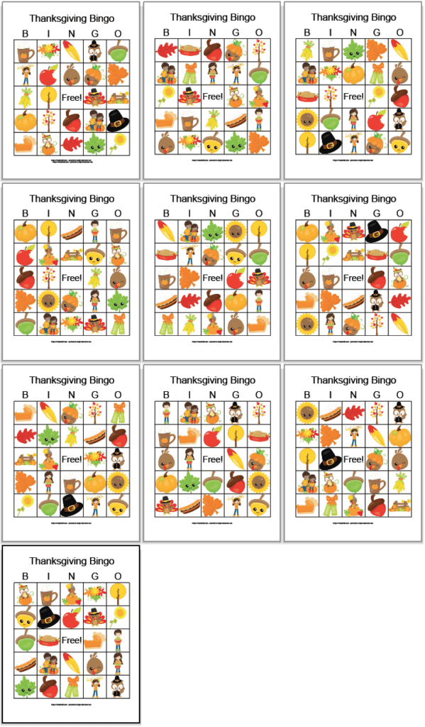 10 free printable Thanksgiving bingo cards with cute fall and Thanksgiving images. The cards are arranged in a 3x3 grid with the final card on its own row alone.