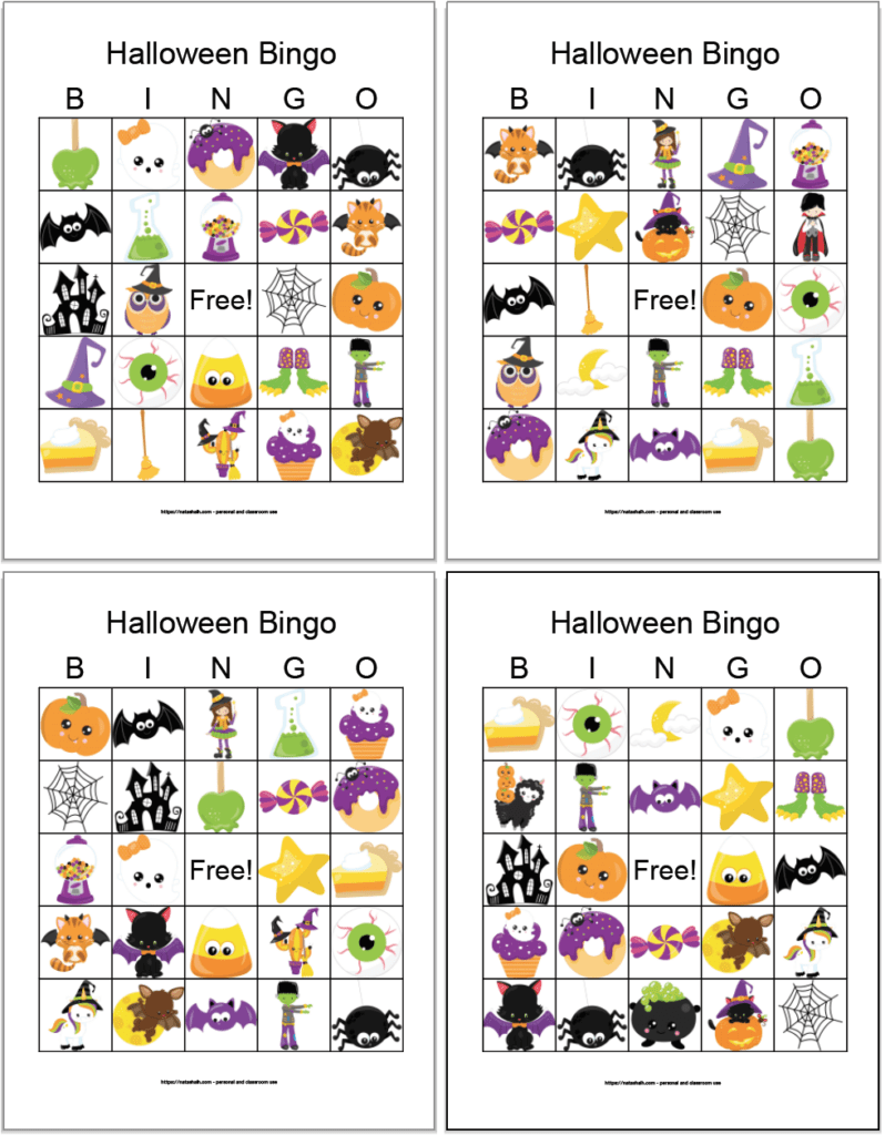 Four free printable Halloween bingo cards for kids with cute cartoon images. The cards in in a 2x2 grid on a white background