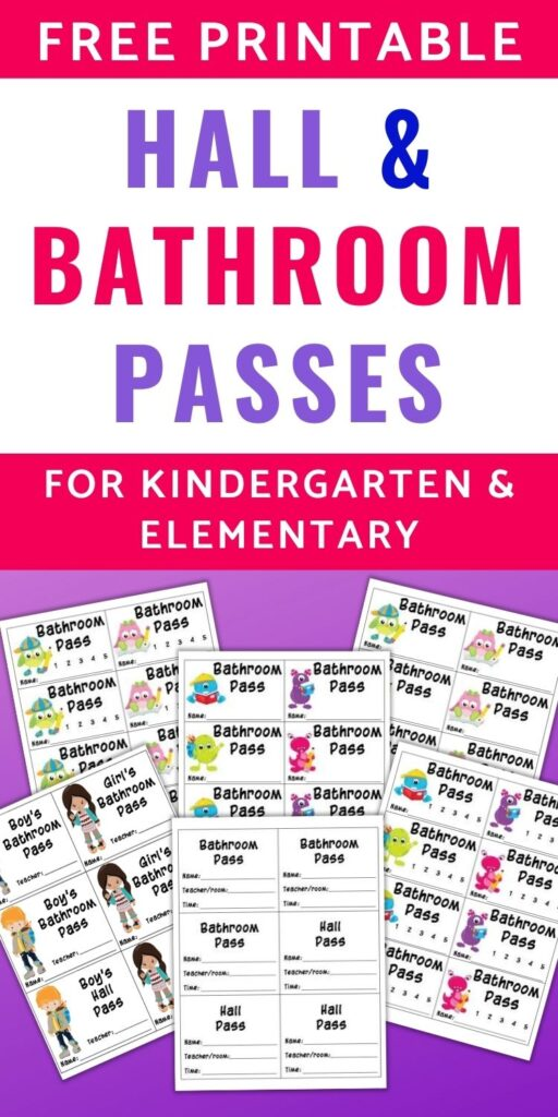 """text """"Free printable hall & bathroom passes for kindergarten and elementary"""" with a preview of 6 printable passes on a purple background. Passes feature cute monsters, school owls, and cartoon children"""