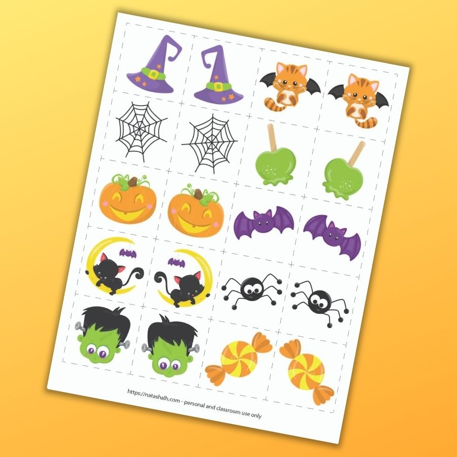 "A page with 10 cute cartoon Halloween images and their mirror image matches. Each image is in a 2"" dotted square to cut out and use as a matching game. The preview is on an orange background."