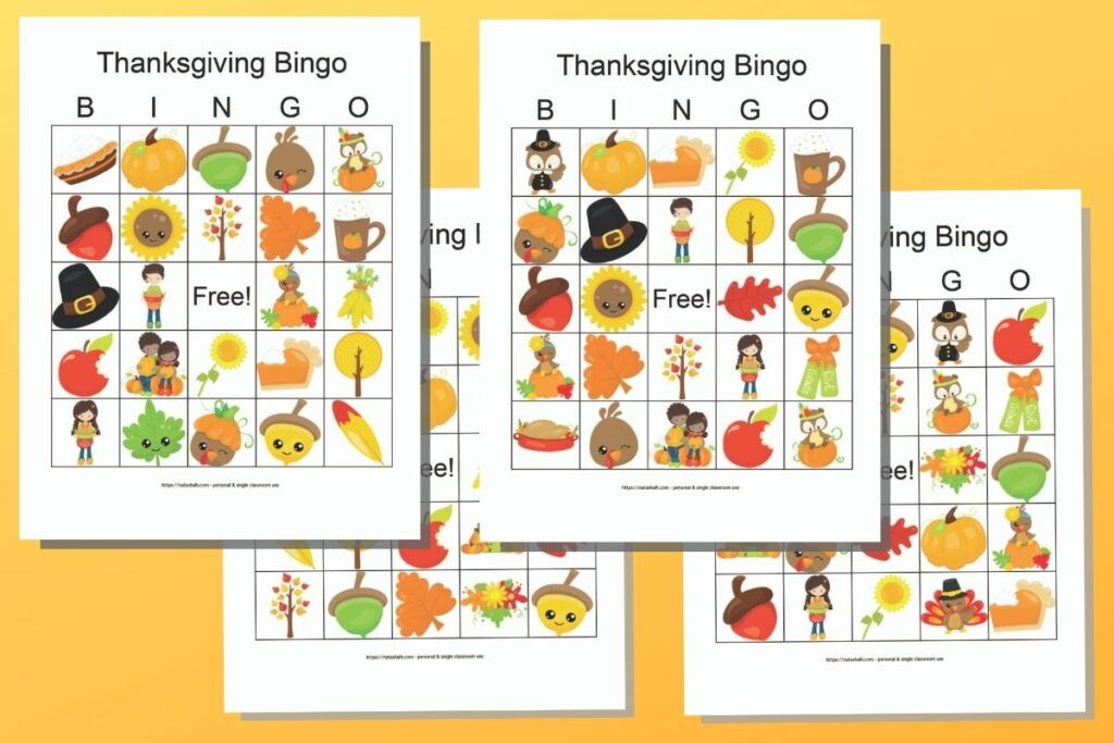 Four free printable Thanksgiving bingo cards featuring cartoon fall and Thanksgiving images on an orange background