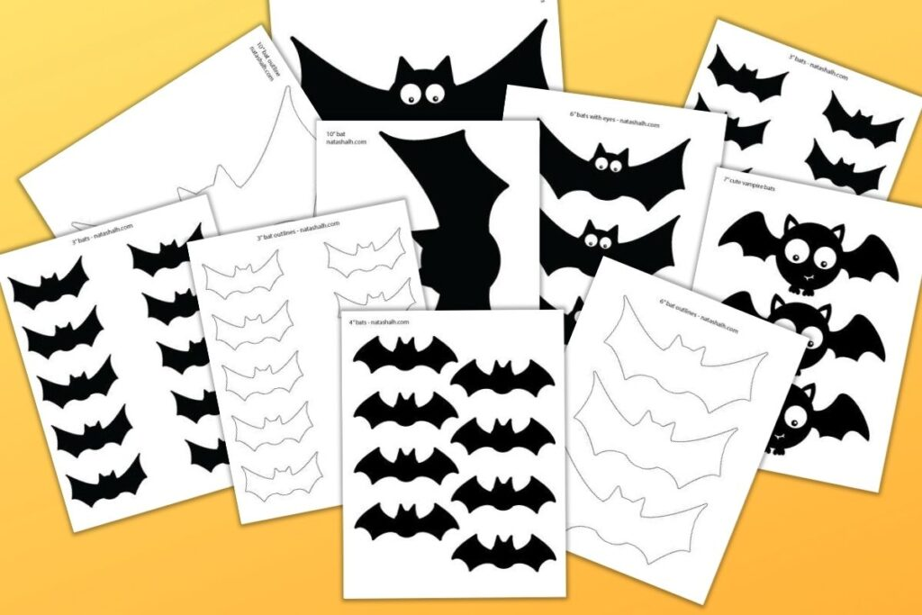 "10 printable bat templates on an orange gradient background. Some of the templates are outlines and others are filled in black bats. One has goofy googly eyes and two other bats have less silly white eyes. The bat templates range in size from 2"" across to 10"" across."