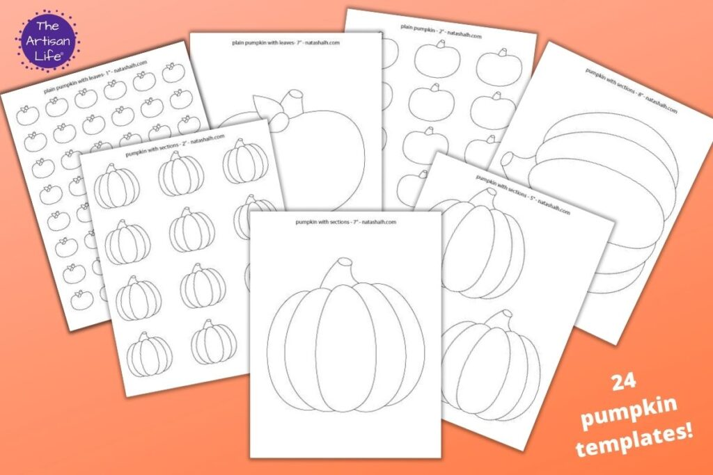 "7 printable pumpkin templates on an orange background with the text ""24 pumpkin templates!"" There are simple segmented pumpkins, large pumpkin templates, and plain pumpkin outlines to color."