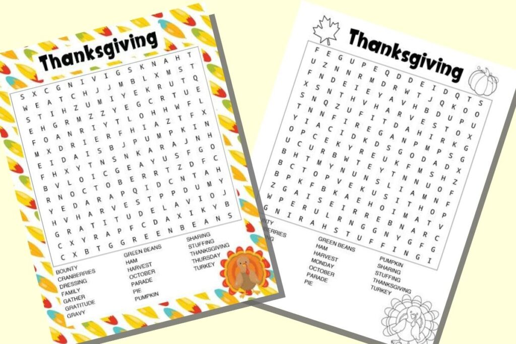two printable Thanksgiving word searches on a light yellow colored background. One has a colorful feather border and has US Thanksgiving words to find. The other is in black and white with a turkey to color and has Canadian Thanksgiving words