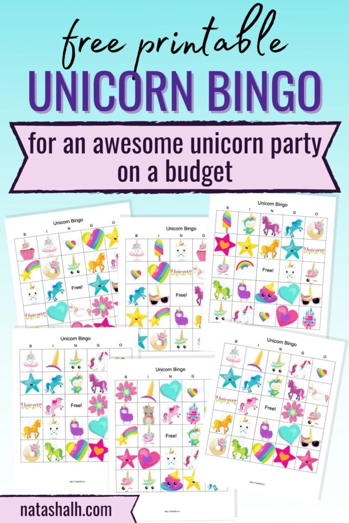 """text """"free printable unicorn bingo for an awesome unicorn party on a budget"""" on a light blue gradient background. Below are previews of six printable bingo boards featuring cartoon rainbow and unicorn images."""
