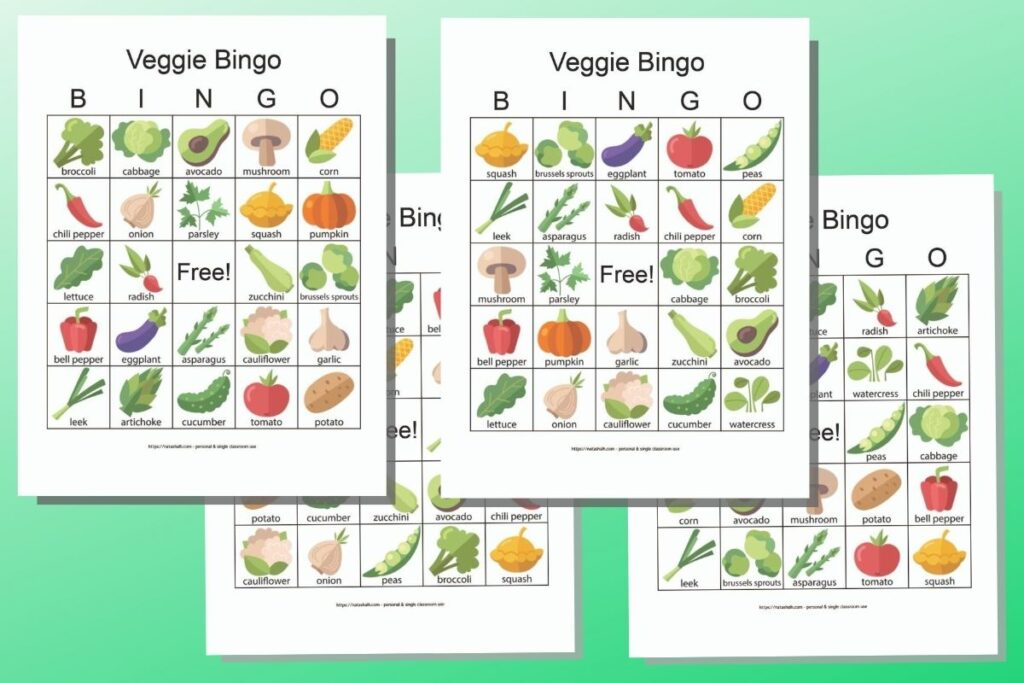 four free printable vegetable bingo cards on a green background. The cards feature illustrated icon style images of vegetables with their names. (For example, squash, Brussels sprouts, tomatoes, eggplant and green peas)