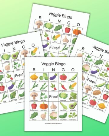 four free printable vegetable bingo boards on a green background. The boards have simple illustrations and each vegetable is labeled.
