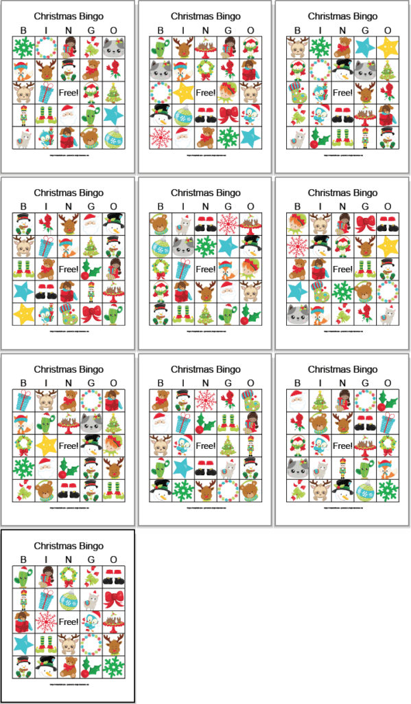 10 free printable Christmas bingo cards with cartoon secular Christmas images. The cards are in a 3x3 grid with the final image alone on the 4th row.
