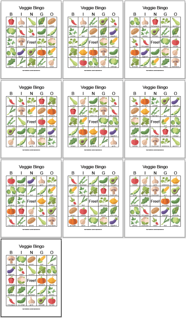 Ten printable vegetable bingo boards with illustrations. There are three rows of three cards and a final card on a row by itself. Each square has a simple vegetable illustration and the vegetable's name.