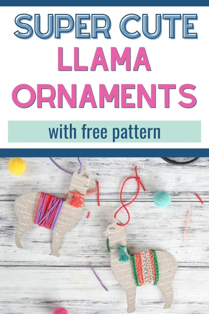 "text ""super cute llama ornaments with free pattern."" Below the text are two cute llama ornaments made with leftover cardboard and yarn. They are on a white background surrounded by pompoms"