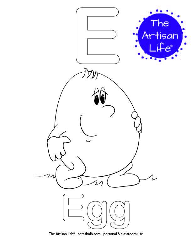 Coloring page with E and Egg in bubble letters and a picture of an egg to color