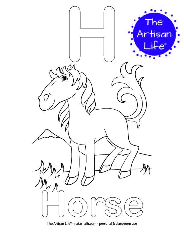 Coloring page with an H and Horse in bubble letters and a picture of a horse to color