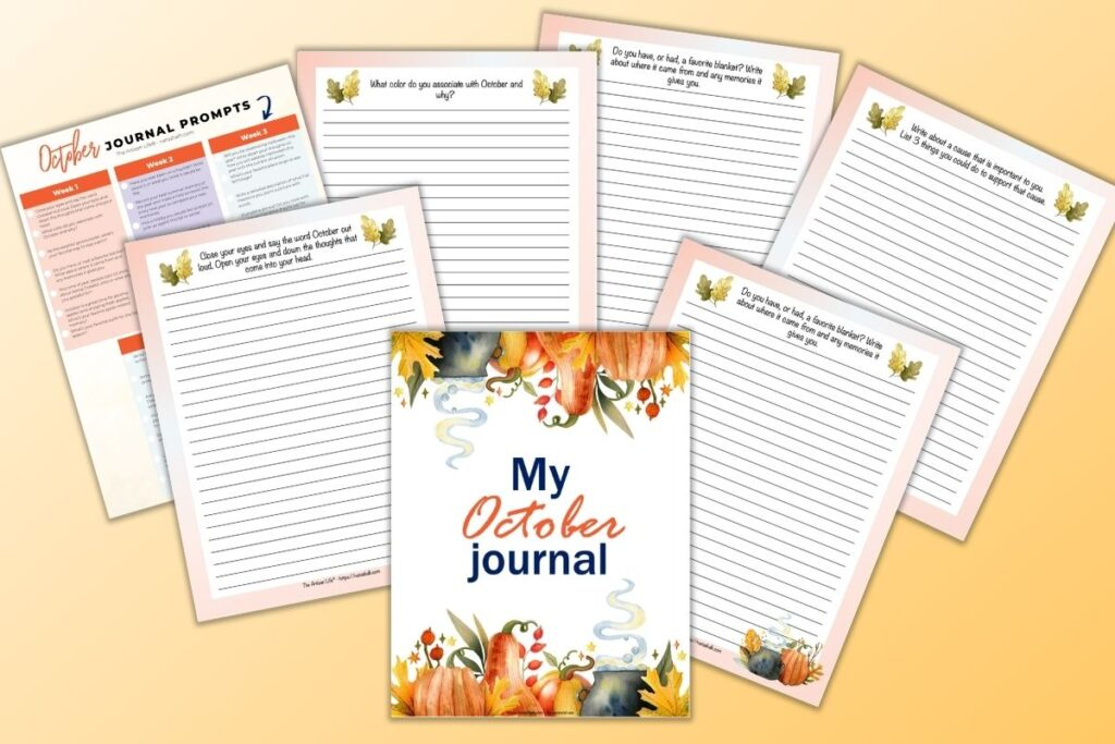 """a preview of 6 October journal page printables and a cheatsheet with 31 journaling prompts for October. The front and center page is a cover page reading """"My October Journal"""" with watercolor pumpkins and leaves on the top and bottom. Behind are lined journal pages with watercolor decorative elements."""