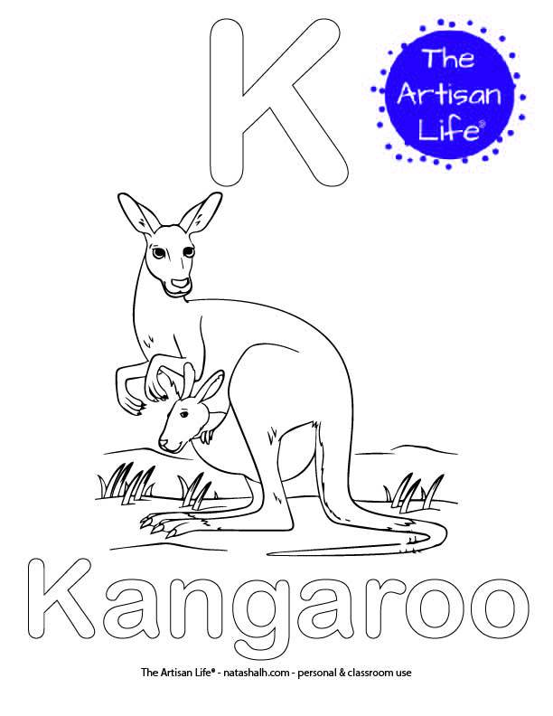 Coloring page with K and Kangaroo in bubble letters and a picture of a kangaroo to color