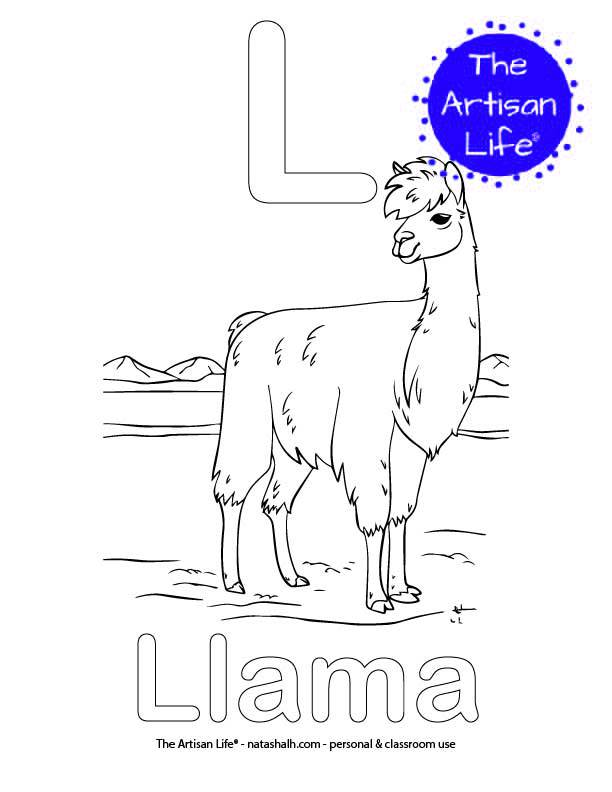 Coloring page with L and Llama in bubble letters and a picture of a llama to color