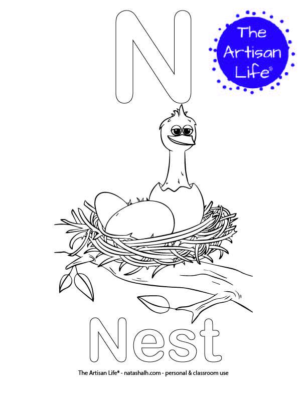 Coloring page with N and Next in bubble letters and a picture of a bird in a nest to color