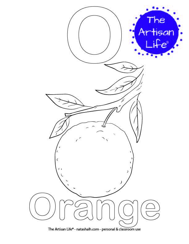Coloring page with O and Orange in bubble letters and a picture of an orange to color