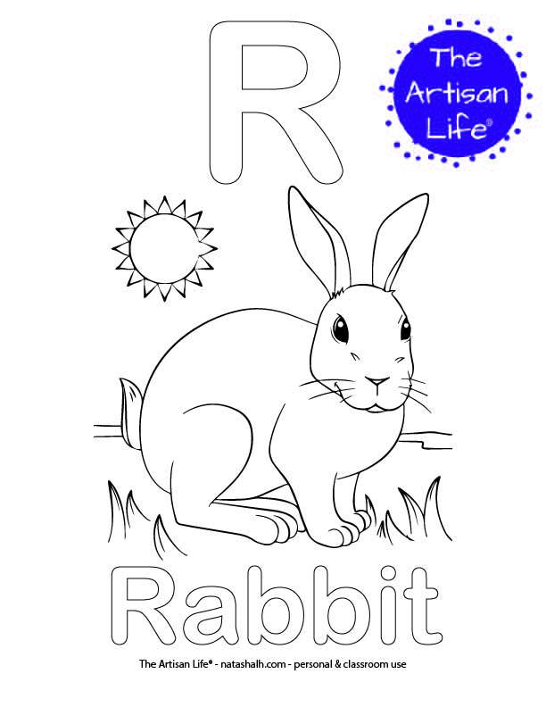 Coloring page with R and Rabbit in bubble letters and a picture of a rabbit to color