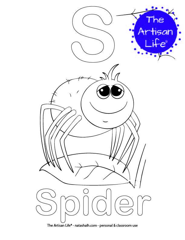 Coloring page with S and Spider in bubble letters and a picture of a spider to color