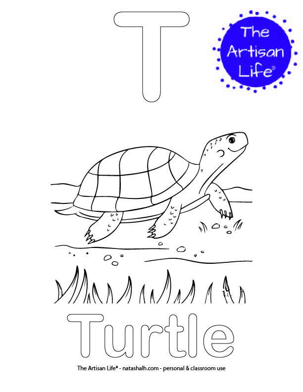 Coloring page with T and Turtle in bubble letters and a picture of a turtle to color