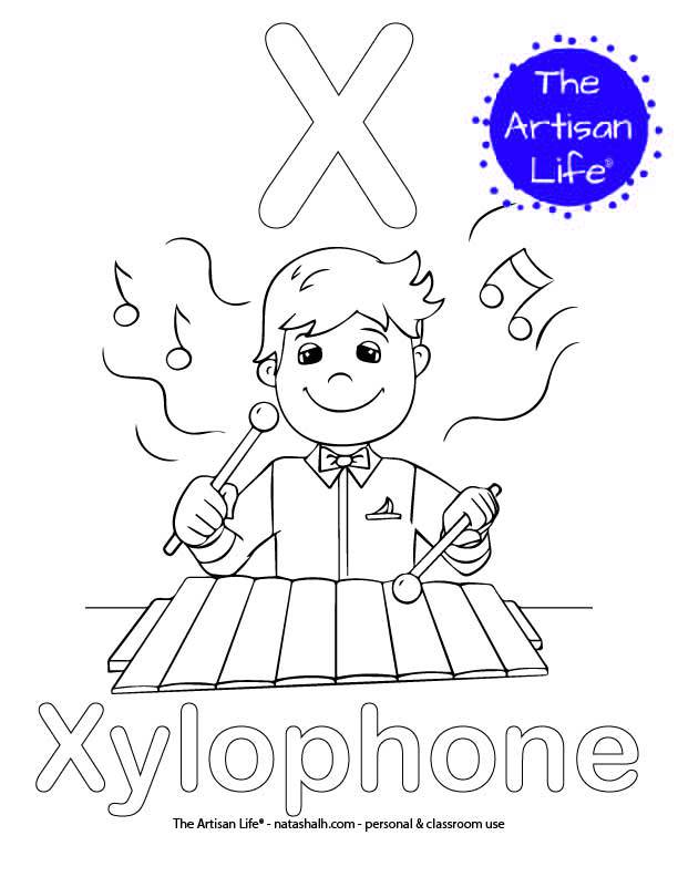 Coloring page with X and Xylophone in bubble letters and a picture of a Xylophone to color