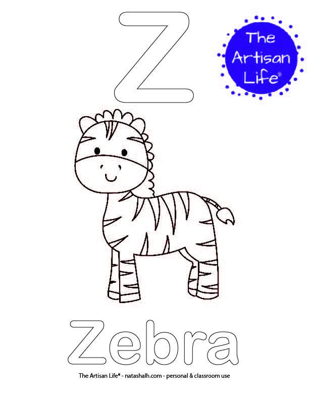 Coloring page with Z and Zebra in bubble letters and a picture of a zebra to color