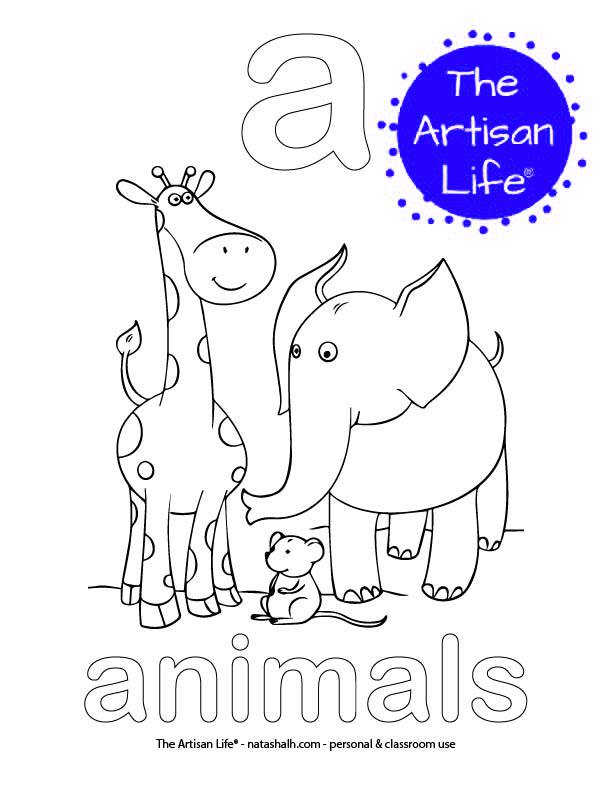 Coloring page with a and animals in bubble letters and a picture of animals to color