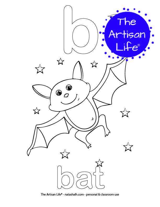 Coloring page with bubble letter b and bat in bubble letters and a picture of a bat to color