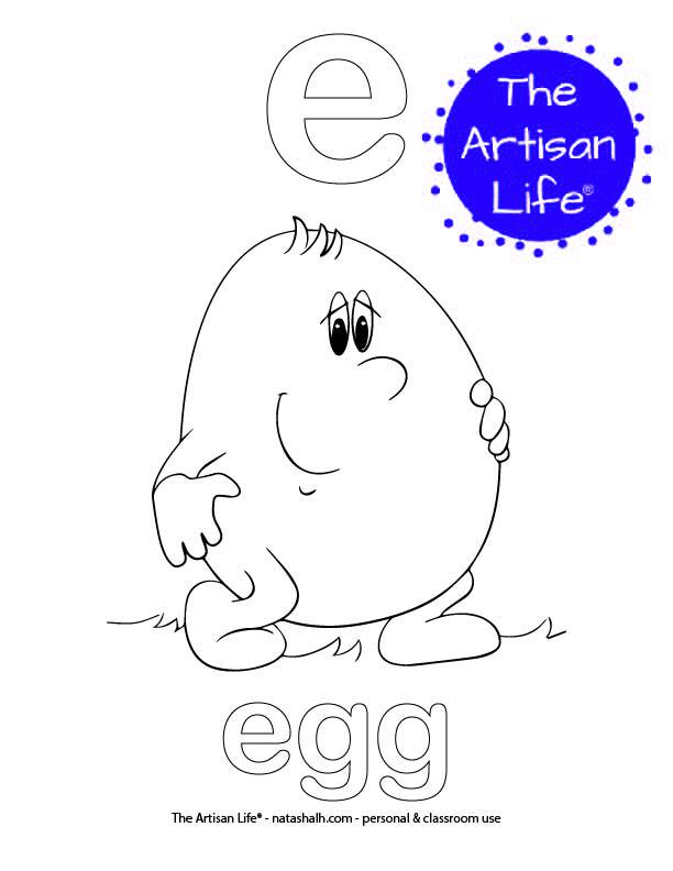 Coloring page with bubble letter e and egg in bubble letters and a picture of an egg to color