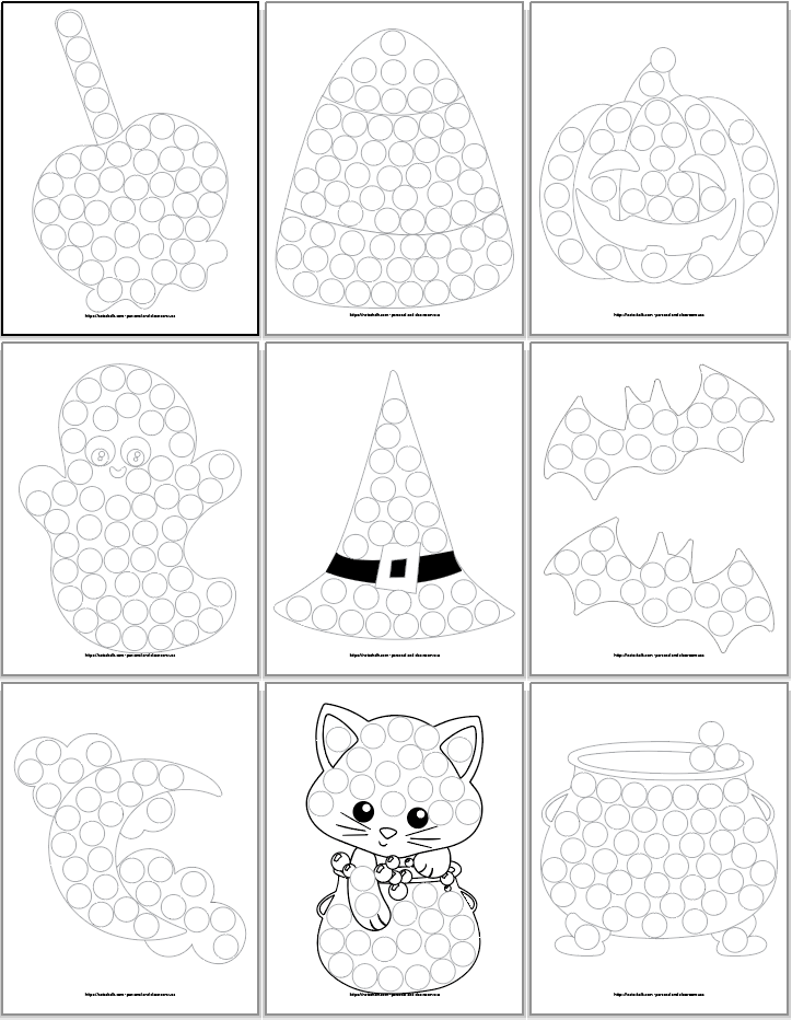 A 3x3 grid of do a dot marker printables for toddlers and preschoolers featuring Halloween images. From top to bottom, left to right the images are A candy apple Candycorn, A jack o'lantern, A cute ghost, A witch hat, Two bats, A moon with clouds, A cute Halloween cat, and A cauldron