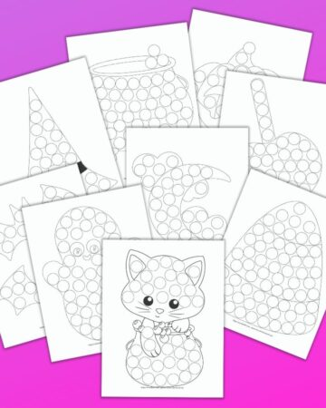 9 printable do a dot marker pages with a cute Halloween theme for toddlers and preschoolers. The pages are stacked on top of one another and are on a purple background