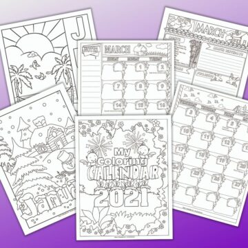 a preview of six printable black and white planner pages for 2021 on a purple to white gradient background. The front and center image is the planner cover. Behind are monthly cover pages for January and June with pictures to color and a three pages of planner printables for the month of March 2021